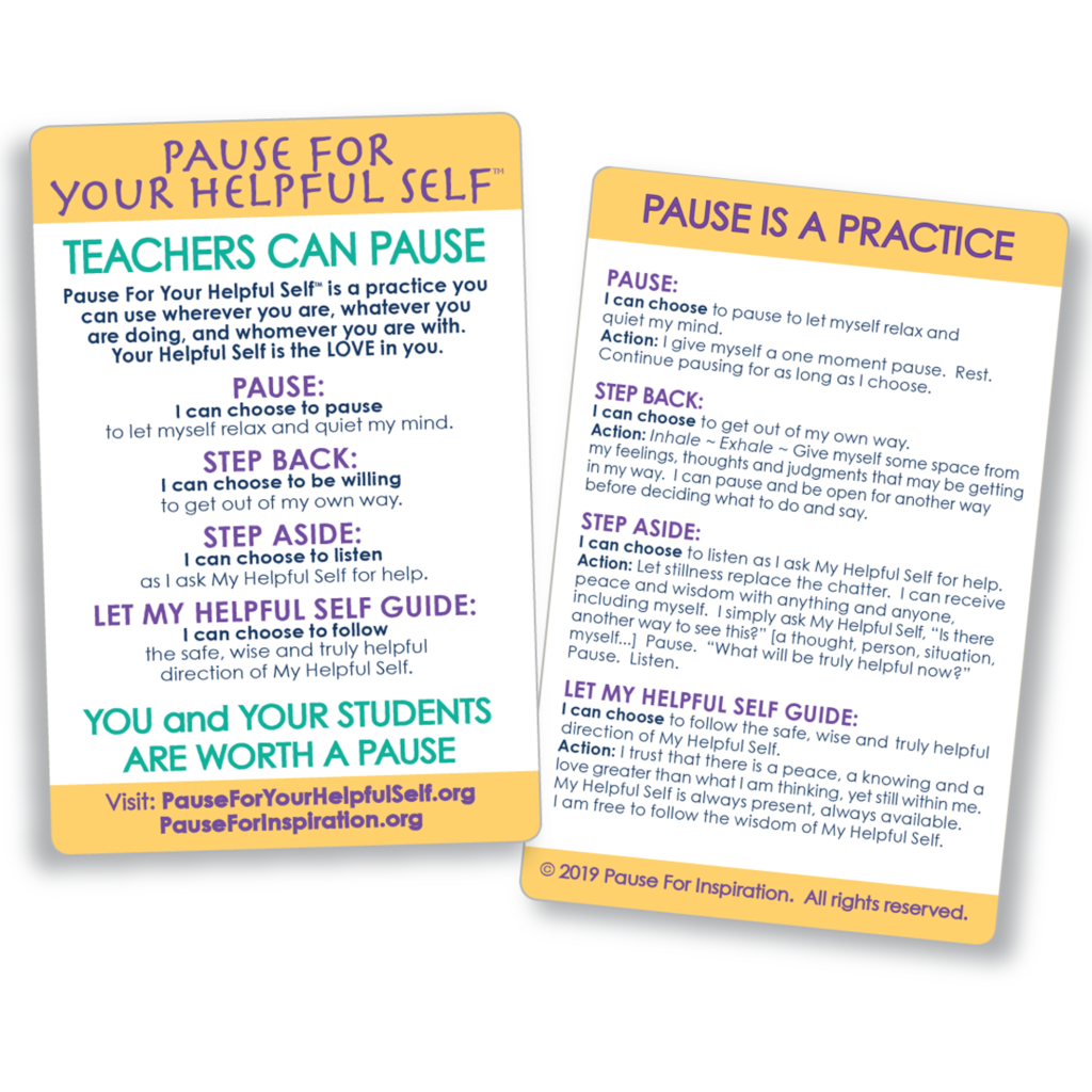 Teachers Can Pause Practice Card Front and Back